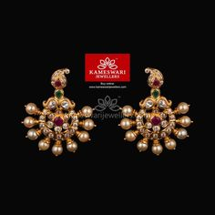 Buy Necklaces Online | Mango Kemp and Emerald With Black Thread from Kameswari Jewellers Gold Jhumka Earrings, Gold Bridal Earrings, Jewelry Design Earrings, Gold Earrings Designs, Gold Jewellery Design, Ear Jewelry, Diamond Earrings, Indian Wedding Jewelry, Indian Jewelry