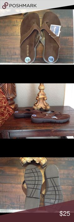 Aerosolses Suede Brown Flip Flops Sandals 6.5 Very comfortable Brand New brown Aerosoles brand flip flops, in size 6.5.  Leather upper.  From a non smoking home. AEROSOLES Shoes Sandals
