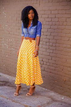 Foolake, Style Pantry, Fashion Blogger. Fitted Denim Shirt + Dotted Tea Length Skirt