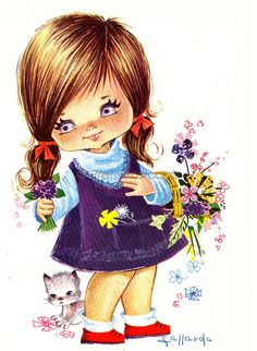 Big Eyed Girl Vintage 70s postcard by Gallarda, The Girl with the Flower Basket, via Flickr.