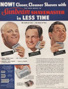1949-VINTAGE-SUNBEAM-SHAVEMASTER-IN-LESS-TIME-CLOSER-CLEANER-PRINT-AD-864