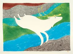 Tuktu Qakuqtaq by Ningeokuluk Teevee also known as White Caribou is for sale through Canadian art gallery, Nanooq Inuit art. Inuit Art, Nordic Art, Canadian Art, Aboriginal Art, Gravure, Native American Art, Spirit Animal, Printmaking, Moose Art