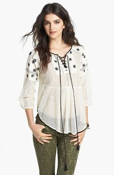Free People 'Roses Are Red' Peasant Top available at #Nordstrom