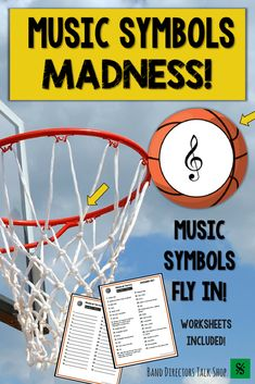Teachers, are you looking for a fun music lesson or activity for March Madness? This Music Madness Music Symbols game is for you! Students will love the animated Power Point game! Music symbols bounce in & students record their answers on basketball music Music Theory Games, Rhythm Games, Music Games, Piano Games, Music Sub Plans, Music Lesson Plans, Piano Lessons, Music Lessons, Music