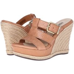 UGG Hedy Emboss Women's Wedge Shoes, Tan ($40) ❤ liked on Polyvore featuring shoes, sandals, tan, strap sandals, tan sandals, wedges shoes, slide sandals and espadrille wedge sandal