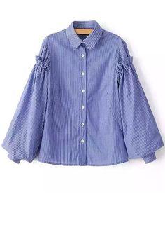 23 Striped Shirt Collar Balloon Sleeve Shirt - ROYAL BLUE L