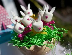 Easter Bunny Marshmallow Pops Tutorial and How-To :)  Making these marshmallow pops is fairly easy, even if you aren't familiar with all the ingredients. Gum paste is rather like play-dough to work with with the added benefit of hardening really well when left to dry.