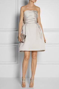 Lanvin|Bow-embellished duchesse-satin dress|NET-A-PORTER.COM