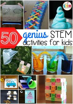 Genius STEM Activities for Kids 50 genius STEM activities for kids! So many fun science, technology, engineering and math ideas in one genius STEM activities for kids! So many fun science, technology, engineering and math ideas in one spot. Stem Science, Preschool Science, Science Experiments Kids, Science For Kids, Science Ideas, Summer Science, Science Classroom, Activity Ideas, Science Centers