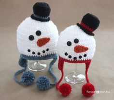 .·:*Christmas*:·. Repeat Crafter Me: Crochet Snowman Hat Pattern. ☀CQ #christmas #crochet #crafts #DIY Thanks so much for sharing! ¯\_(ツ)_/¯