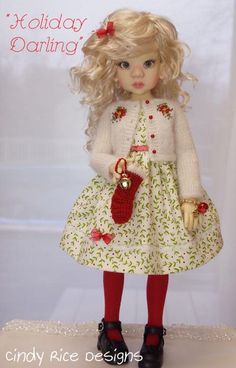 """""""Holiday Darling"""", a Christmas outfit made for Kaye Wiggs Talyssa and Mei Mei MSD (BJD) dolls, cindyricedesigns.com . (hand knit and embroidered mohair/silk sweater, crocheted stocking)"""