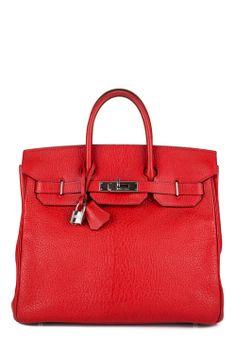 0dff416235 Auth Hermes Red Chevre Leather 32 cm HAC Birkin Satchel Tote Handbag
