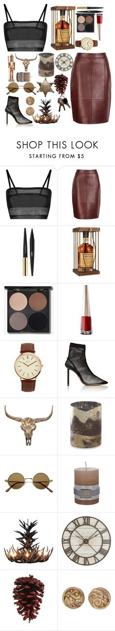 """Whisky Sheriff"" by biajacksonwinchester ❤ liked on Polyvore featuring La Perla, Reiss, Yves Saint Laurent, BKE, Alexander Wang, Pier 1 Imports, vintage, cowboy, brown and whisky"