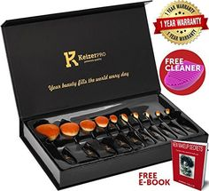 Makeup Brushes Professional - KeizerPro 10 Piece Set of NEW Pro Oval Makeup Brushes + Free Silicone Cleaner and MakeUp Book - Full Gift Box Set with Holder for Perfect and Easy Makeup Even at Home by KeizerPro, http://www.amazon.com/dp/B01NARGDBH/ref=cm_sw_r_pi_dp_U_x_hKNiAb85MHKM6