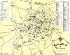 Pictorial Map of Nicosia - 1940s (From Spyros Zavros archives)