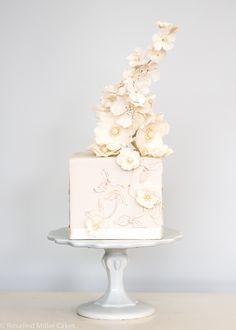 Beautiful Cake Pictures: Elegant Square Little Pink Flower Cake - Birthday Cake, Elegant Cakes, Flower Cake, Pink Cakes, Wedding Cakes - Amazing Wedding Cakes, Elegant Wedding Cakes, Elegant Cakes, Wedding Cake Designs, Amazing Cakes, Gorgeous Cakes, Pretty Cakes, Beautiful Cake Pictures, Beautiful Beautiful