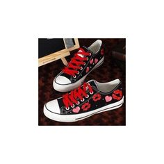 Painted-Lip Lace-Up Sneakers ($32) ❤ liked on Polyvore featuring shoes, sneakers, footware, black trainers, small heel shoes, black shoes, lace up shoes and black sneakers