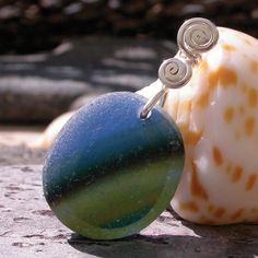 Pendant with multicolored English sea glass www.naturalseaglass.com