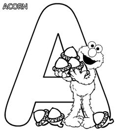 Sesame Street Alphabet Coloring Page Featuring Elmo With Acorn