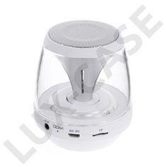 Mini Bluetooth Högtalare med Färgglada LEDs Stödjer AUX-Input och TF/MicroSD Card - Vit