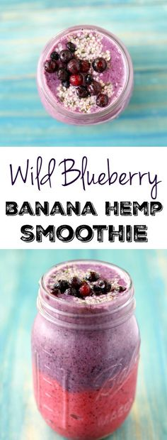 This wild blueberry banana smoothie has two delicious and beautiful layers for a smoothie that's a treat for the eyes and your tastebuds! #AD #dairyfree #vegan
