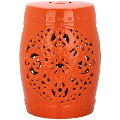 Orange Flora Garden Stool design by Safavieh (165 CAD) ❤ liked on Polyvore featuring home, outdoors, patio furniture, outdoor stools, stools, asian garden stool, safavieh, asian ceramic garden stools, oriental ceramic garden stools and orange patio furniture