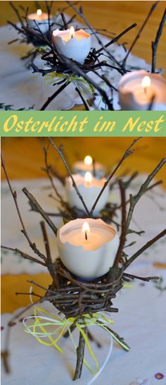 Teelichthalter aus Osterei und Zweigen, stimmungsvolle DIY Tischdekoration zu Ostern, leicht selbst gemacht mit Tutorial FF&IF Osterdeko Osterdekoration