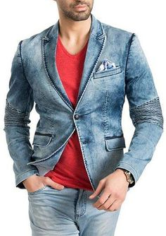 Peak lapel denim blazer Denim Blazer, Men's Denim, Denim Fashion, Retro Fashion, Evolution T Shirt, Denim Style, How To Look Pretty, Suit Jacket, Menswear