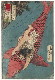 """Saito Oniwakamaru Fighting a Giant Carp"" by Yoshitoshi (1839 - 1892); Japanese woodblock print #japan #art #japanese #ukiyoe #yoshitoshi #tattoo #carp"
