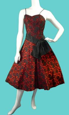 1950's Cocktail Dress Red with Black Lace