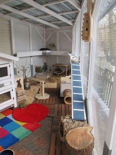 House rabbits can live in rabbit hutches, rabbit cages indoors and out. Rabbit Shed, House Rabbit, Rabbit Toys, Pet Rabbit, Indoor Rabbit House, Bunny Cages, Rabbit Cages, Animal Room, Rabbit Playground