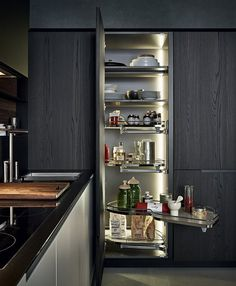 Steel and wood kitchen with peninsula PHOENIX by Varenna by Poliform Modern Pantry Cabinets, Kitchen Cabinet Design, Kitchen Storage, Kitchen Cabinets, Cabinet Storage, Storage Units, Pantry Shelving, Pantry Storage, Kitchen Designs