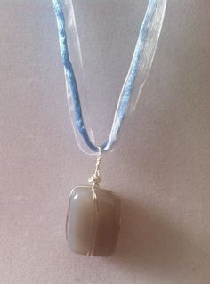 Wire Wrapped Moonstone Pendant Satin Ribbon by TripIntoLight, $15.00