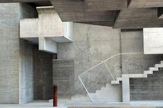 Miralles Tagliabue EMBT · Rector Office at Vigo University Campus Minimalist Architecture, Space Architecture, Amazing Architecture, Contemporary Architecture, Architecture Details, Louis Kahn, Concrete Facade, Concrete Forms, Alvar Aalto