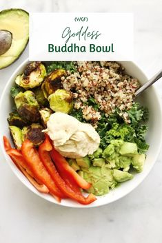 Nov 1, 2020 - This Goddess Buddha Bowl is grounding, nourishing, and satisfying. The quinoa and Brussel sprouts add an earthy flavor, while the fresh red bell pepper adds a nice crunch, and the avocado is just AMAZING as always. Grab the full recipe here! Side Dish Recipes, Side Dishes, Vegan Thanksgiving, Plant Based Recipes, The Fresh, Clean Eating, Good Food, Healthy Recipes, Healthy Food