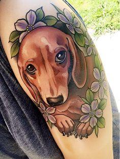 15 Chic Tattoo Designs for Dachshund Fans – The Paws Tribal Tattoos, Tattoos Skull, Dog Tattoos, Cute Tattoos, Tatoos, Tattoo Memes, Celtic Tattoos, Lion Tattoo, Sleeve Tattoos
