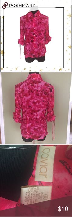 Pink Flower Blouse Light and confortable. Good condition. Also available in orange color Tops Blouses