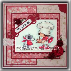 Red flowers crown this shabby chic card for a birthday. FQB - Crab Apple Lane Collection from Nitwit Collections Red Flowers, Fabric Flowers, Kids Cards, Fun Cards, Digital Scrapbooking Layouts, Card Maker, Lily Of The Valley, Copics, Paper Cards