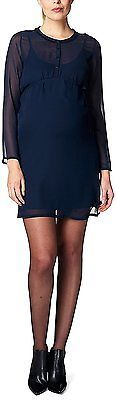 12, Blue - Blau (Night Blue 486), Esprit Maternity Women's Mix Ls Dress NEW