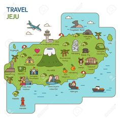City Tour travel Map Illustration - Jeju Island South Korea Royalty Free Cliparts Vectors And Stock Illustration Image 84866336 Seoul Korea Travel, Korea Map, Travel Store, Island Map, Korean Words, Jeju Island, Learn Korean, Korean Language, Map Design