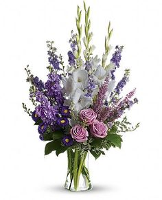 Joyful Memory Bouquet, Funeral Wreaths: A large arrangement of lavender roses, white gladioli, pink heather, purple larkspur and much more to give the Altar Flowers, Church Flower Arrangements, Church Flowers, Silk Flowers, Flowers Garden, Lotus Flowers, Tropical Flowers, White Flowers, Gladiolus Bouquet