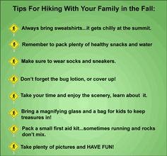 Hello Republic,  I am a big fan of hiking and what a better way to include your family than being out with nature with your loved ones. This image gives you tips to turn hiking time to a family adventure.   If you think your friends would enjoy this post please share & pin this page for them, thanks!  Happy Hiking! The Preppers Republic Prepare to survive Zane  https://www.facebook.com/photo.php?fbid=315438825266495=a.305654446244933.1073741828.304956126314765=1