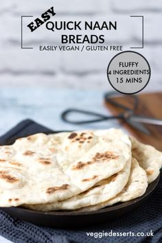 Quick and Easy Yeast-Free Naan Bread This tasty, light and fluffy easy naan bread recipe is ready in just 15 minutes with 4 ingredients! Easily vegan, gluten-free and a quick yeast free bread. Step by step picture tutorial. Gluten Free Naan, Gluten Free Baking, Vegan Gluten Free, Gluten Free Recipes, Gluten Free Tortillas, Gluten Free Quick Bread, Yeast Free Recipes, Lactose Free, Naan Bread Vegan