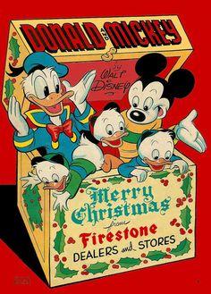 1949 Donald & Mickey Mouse by Walt Disney Firestone Premium Comic Book Christmas Comics, Mickey Christmas, Christmas Books, Retro Christmas, Vintage Christmas Cards, Donald Duck Christmas, Arte Do Mickey Mouse, Mickey Mouse And Friends, Retro Disney