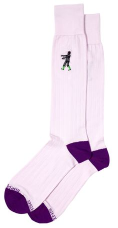 """These themed dress socks feature Peruvian Pima cotton in a classic ribbed body in a light lilac body color, with dark purple toe and heel. Subtly embroidered by a hungry zombie ready for action! The words """"Brains Please"""" add a bit of extra detail near your toes. Mid and Full-Calf styles.  #Soxfords #Socks #Style"""