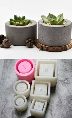 Concrete cylinder planter silicone molds with different sizes. I love the minimalist design. I would personalize them, add a little metallic touch with rose gold or silver, black paint. Perfect home decor and even a gift with a small succulent plant. Cement Art, Concrete Cement, Concrete Crafts, Concrete Projects, Small Succulent Plants, Diy Concrete Planters, Kitchen Ornaments, Concrete Jewelry, Beton Diy