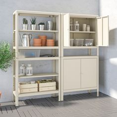 KOLBJÖRN Shelving unit with 2 cabinets, beige. Also stands steady on an uneven floor since the feet can be adjusted. Suitable for both indoor and outdoor use. Ikea Pantry, Pantry Shelving, Kitchen Cabinet Storage, Storage Cabinets, Kitchen Pantry, Shelving Units, Pantry Storage, Outdoor Storage Boxes, Outdoor Shelves