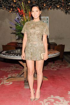 Olivia Munn great legs in a gold mini dress ~ Best Celebrity Legs in High Heels