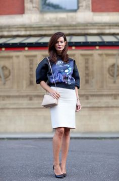 Hedvig of The Northern-Light blog wears her Balenciaga with a white pencil skirt and pumps.