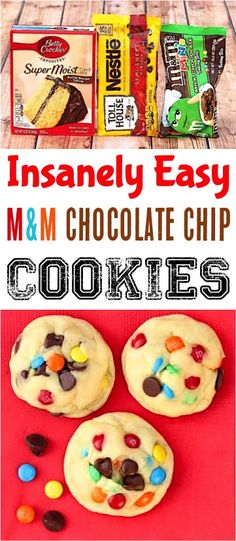M M Cookies Recipe Easy! Chewy chocolate chip makes the best homemade soft Christmas gift ideas! M M Cookies Recipe Easy! Chewy chocolate chip makes the best homemade soft Christmas gift ideas! M&m Cookie Recipe, Cake Mix Cookie Recipes, Cake Mix Cookies, Dessert Recipes, Thanksgiving Desserts Easy, Winter Desserts, Mandm Cookies, Chocolate Chip Cookies, 4 Ingredient Cookies